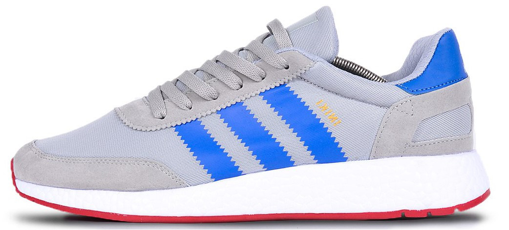 "Мужские кроссовки adidas Iniki ""Gray/Blue/White/Red"" (Адидас Иники) серые"