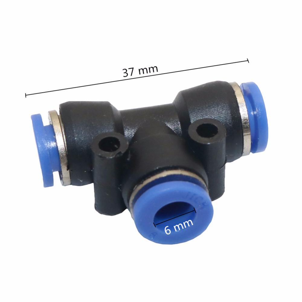 Соединительный тройник пневматика, вода. 6 мм. 10 шт