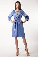 Вышитое платье Твори мир (цвет - джинс), фото 1