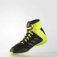 Боксёрки Adidas Speedex 16.1 черно-зеленые, обувь для бокса Адидас