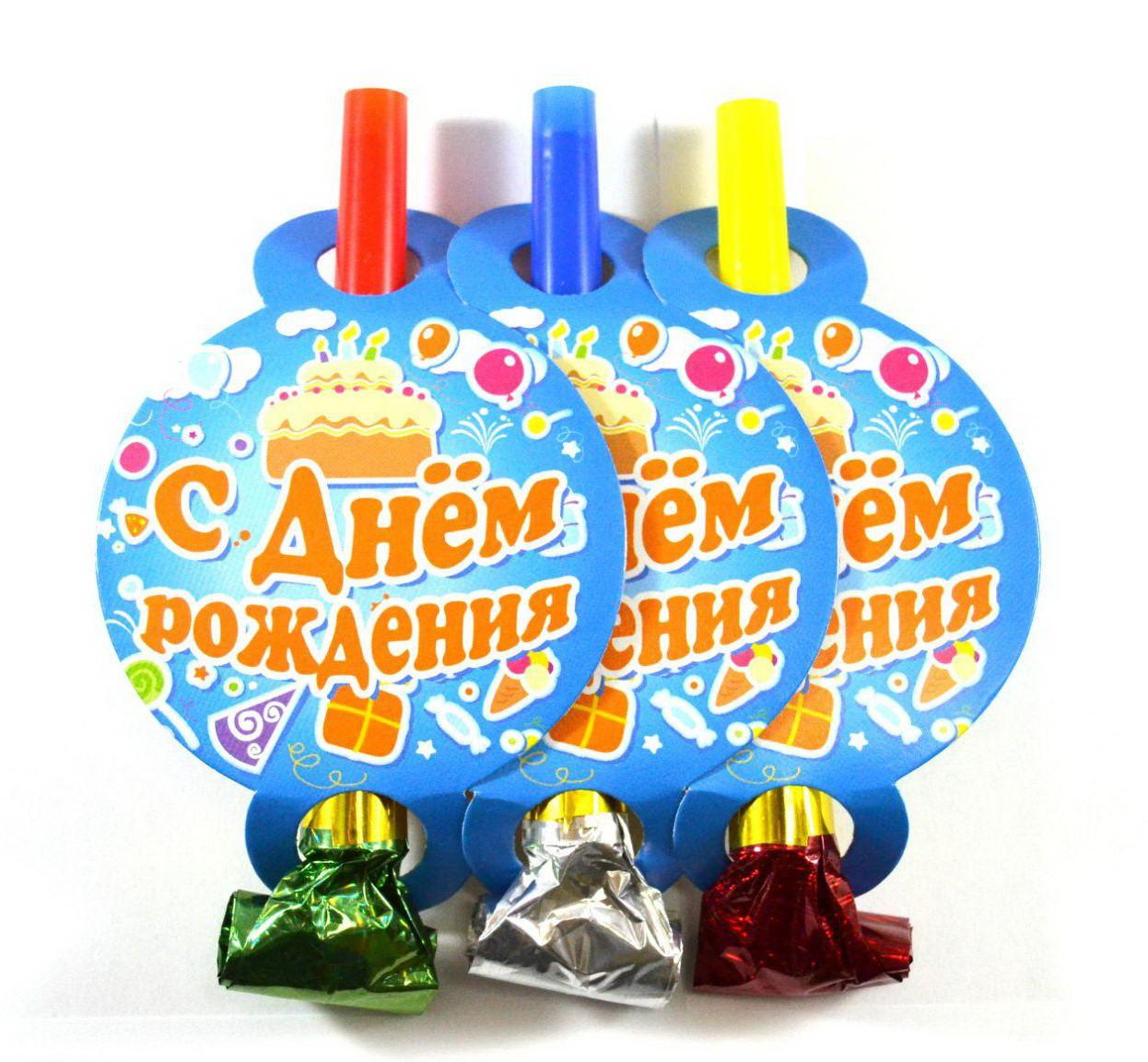 Святковий язичок дудка Торт День народження 6 штук