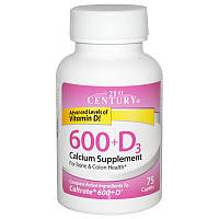 Кальций 600 + D, 21st Century Health Care, 75 капсул