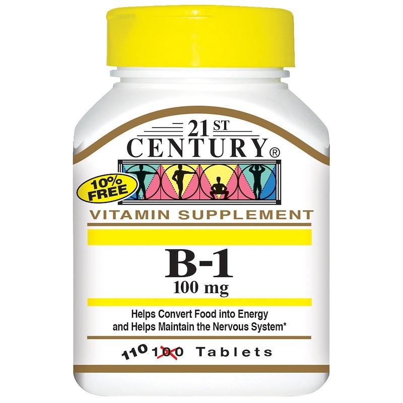 Витамин B-1, Тиамин, 110 капсул, 21st Century