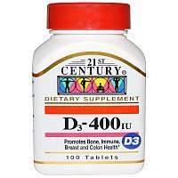 Витамин D-400 (D3), 400 ME, 100 таблеток, 21st Century
