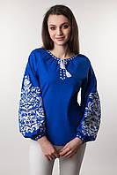 Блуза вышиванка ярко синего цвета, фото 1