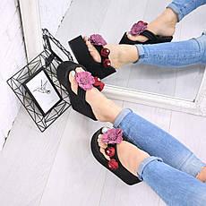 """Шлепки, тапки, сланцы, вьетнамки, черные """"Viola"""" текстиль на танкетке, повседневная, летняя, женская обувь, фото 2"""