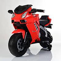 Детский Мотоцикл BMW на аккумуляторе красный (оранжевый, белый),кожаное сидение,свет/звук, USB, MP3, M3637EL-3