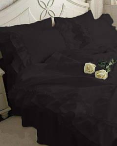 Постельное белье С двойной рюшей Сатин Премиум Черный (модель 2)