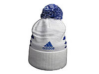 Шапка Adidas белая с синим логотипом и помпоном (реплика)