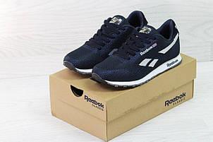Мужские кроссовки Reebok,темно синие с белым,сетка (реплика), фото 2