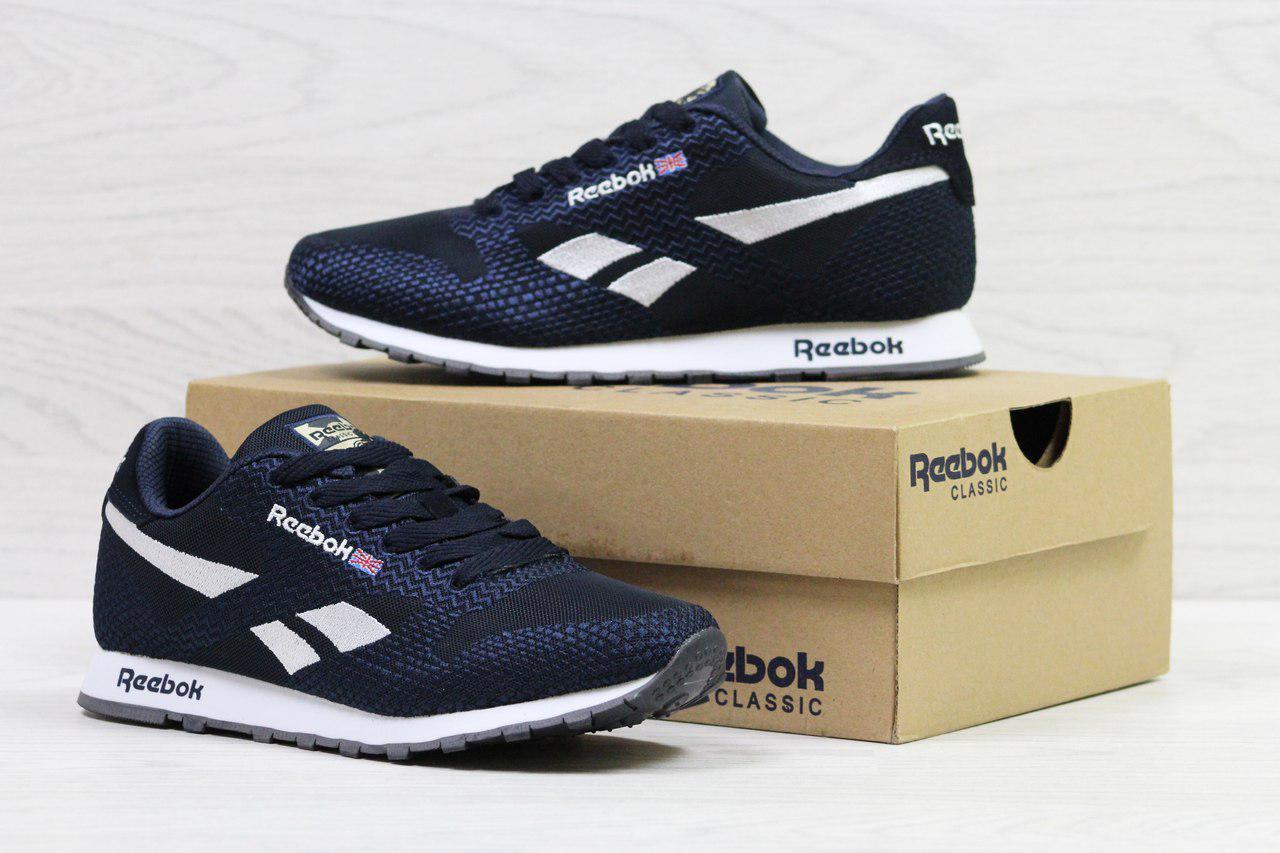 Мужские кроссовки Reebok,темно синие с белым,сетка (реплика)