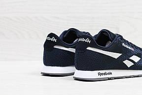 Мужские кроссовки Reebok,темно синие с белым,сетка (реплика), фото 3