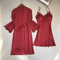 Пижама SilkTouch комплект халат с ночной рубашкой бордо  М  (1315)