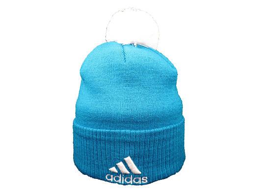 Шапка Adidas бирюзовая с белым логотипом и помпоном (реплика)
