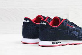 Мужские кроссовки Reebok,темно синие с красным,сетка (реплика), фото 2