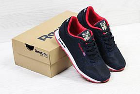 Мужские кроссовки Reebok,темно синие с красным,сетка (реплика), фото 3