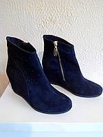 Синие замшевые женские ботинки зимние на меху. От производителя, фото 1