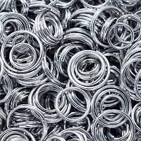 Колечки Двойные, Железные, Микс, Цвет: Платина, Размер: 4~10мм, Толщина 0.8мм, 50г/около 530шт, (УТ0005751)