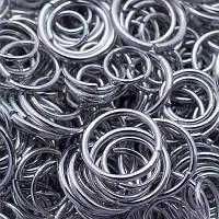 Колечки Одинарные, Железные, Микс, Цвет: Платина, Размер: 4-10мм, Толщина 0.7мм, 50г/около 600шт, (УТ0005756)