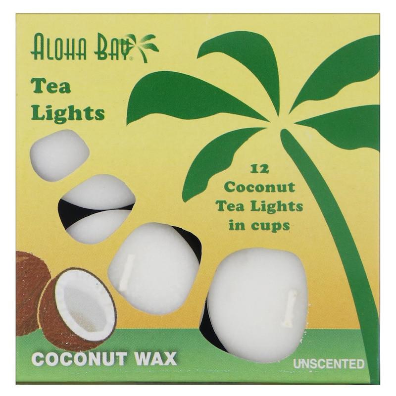 Aloha Bay, Свечи из пальмового воска, чайные свечи, без запаха, белые, 12 штук в упаковке