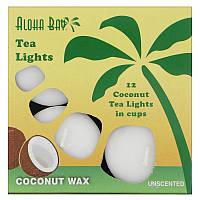 Aloha Bay, Свечи из пальмового воска, чайные свечи, без запаха, белые, 12 штук в упаковке, фото 1