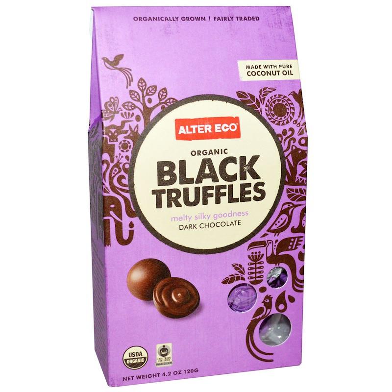 Трюфель из черного шоколада, Black Truffles, Alter Eco, 120 г