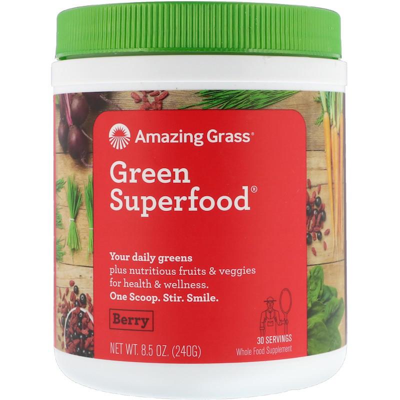 Amazing Grass, Зеленая суперпища, ягодный напиток в порошке, 8.5 унций (240 г)