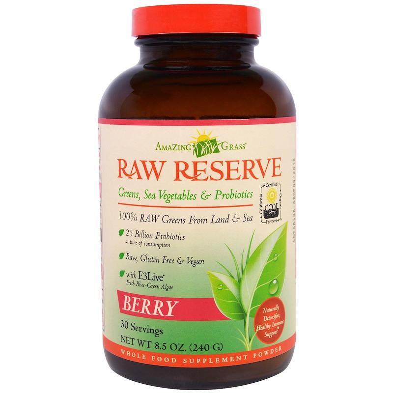 Amazing Grass, Сырой резерв, зеленый суперпродукт, ягодный, 8.5 унций (240 г)