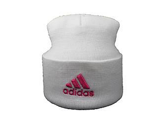 Шапка Adidas белая с розовым логотипом (реплика)