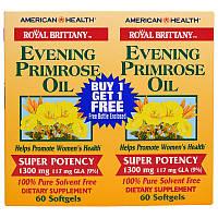American Health, Royal Brittany, масло примулы вечерней, 1300 мг, 2 бутылочки, 60 мягких капсул в каждой, фото 1