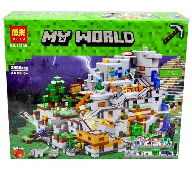 Конструктор Bela 10735 Майнкрафт Горная пещера, 2886 деталей (аналог Lego Minecraft 21137)