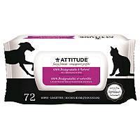Влажные салфетки для ухода за домашними животными, Grooming Wipes, ATTITUDE, 72 шт.