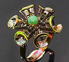 Кольцо ручной работы из серебра 925 пробы с натуральным черным опалом Размер 18