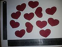 Красное сердце термо аппликация из фетра