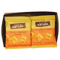 Хрустящие крекеры с чеддером, Crispy Cheddar Crackers, Back to Nature, 8 пакетиков, по 28 гр