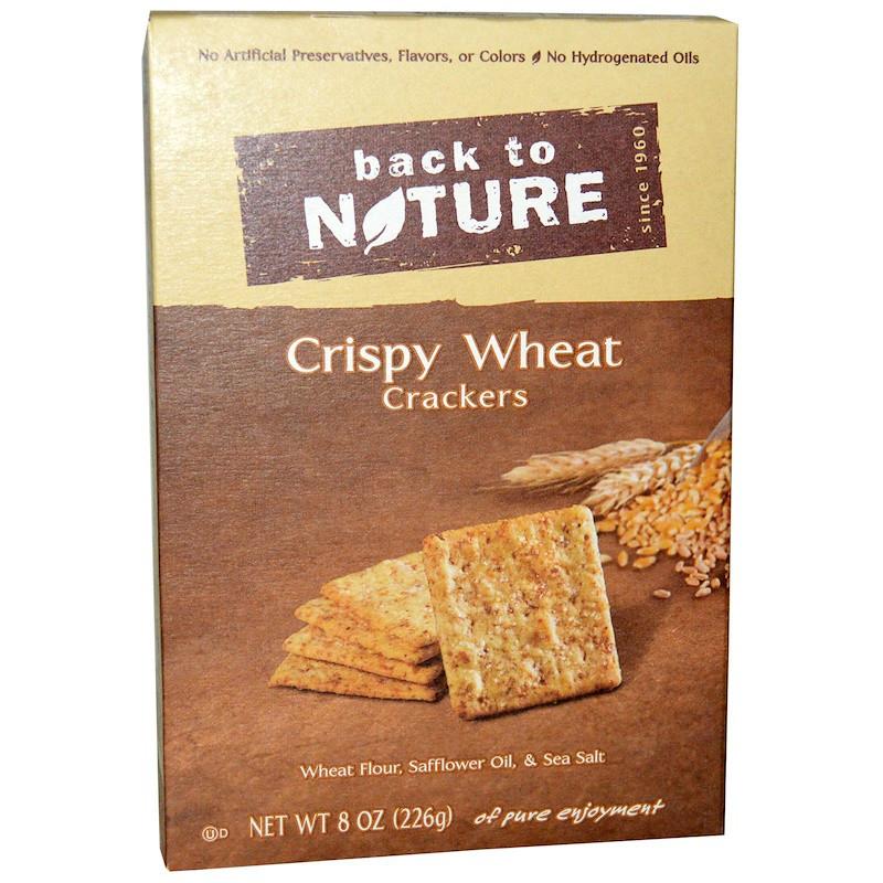 Хрустящие пшеничные крекеры, Crispy Wheat Crackers, Back to Nature, 226 г.