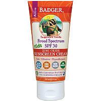 Крем от солнца для активных детей, SPF 30, мандарин и ваниль (Sunscreen Cream), Badger Company, 87 мл