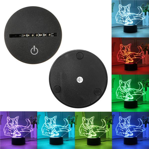 3D USB/Батарея Powered Cute Кот 7 цветов Изменение LED Настольные лампы Touch Switch Night Light 1TopShop