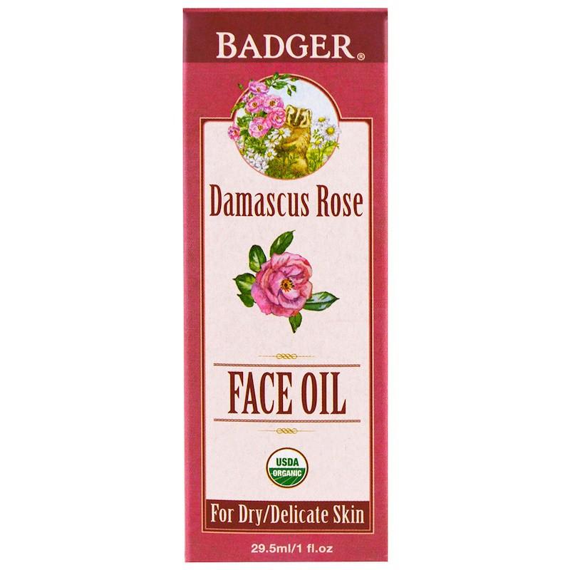 Масло для лица, дамасская роза с лавандой и ромашкой, Badger Company, 29,5 мл