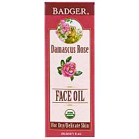 Масло для лица, дамасская роза с лавандой и ромашкой, Badger Company, 29,5 мл, фото 1