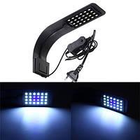 10W 24 LED Аквариум Лампа Водяной резервуар для воды Растение Зажим для света AC220V