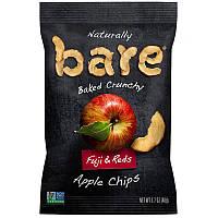Яблочные чипсы, Crunchy Apple Chips, Fuji Red, Bare Fruit, 48 г.
