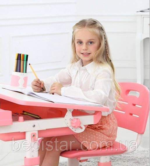 """Детская парта растишка """"Bambi"""" розового цвета трансформер девочке от 3 лет столешница 70 х 38 см - фото 1"""