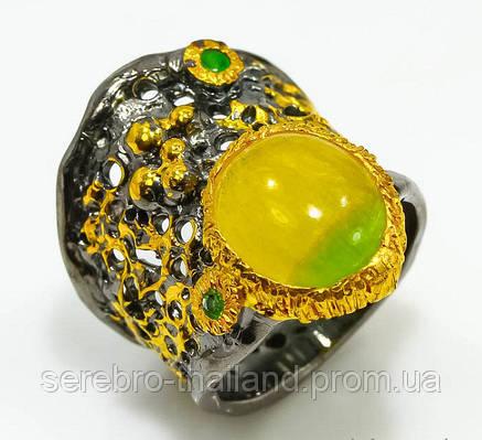 Кольцо ручной работы из серебра 925 пробы с натуральным флюоритом Размер 17,5