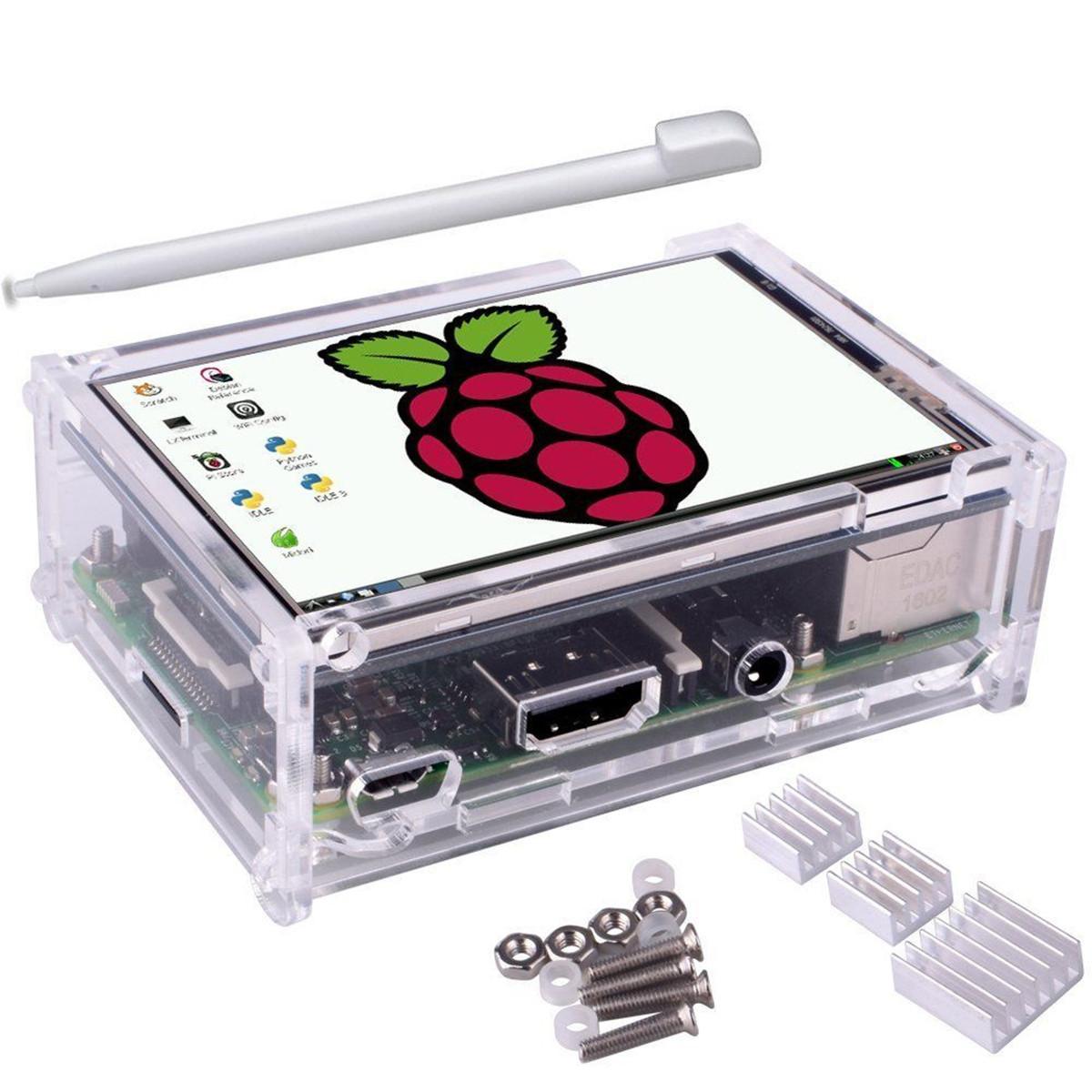 3,5 дюйма TFT LCD Сенсорный экран + Защитный Чехол + Радиатор + Сенсорная Ручка Набор Для Raspberry Pi 3/2/Модель 1TopShop