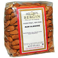 Сырой миндаль, Raw Almonds, Bergin Fruit and Nut Company, 454 г