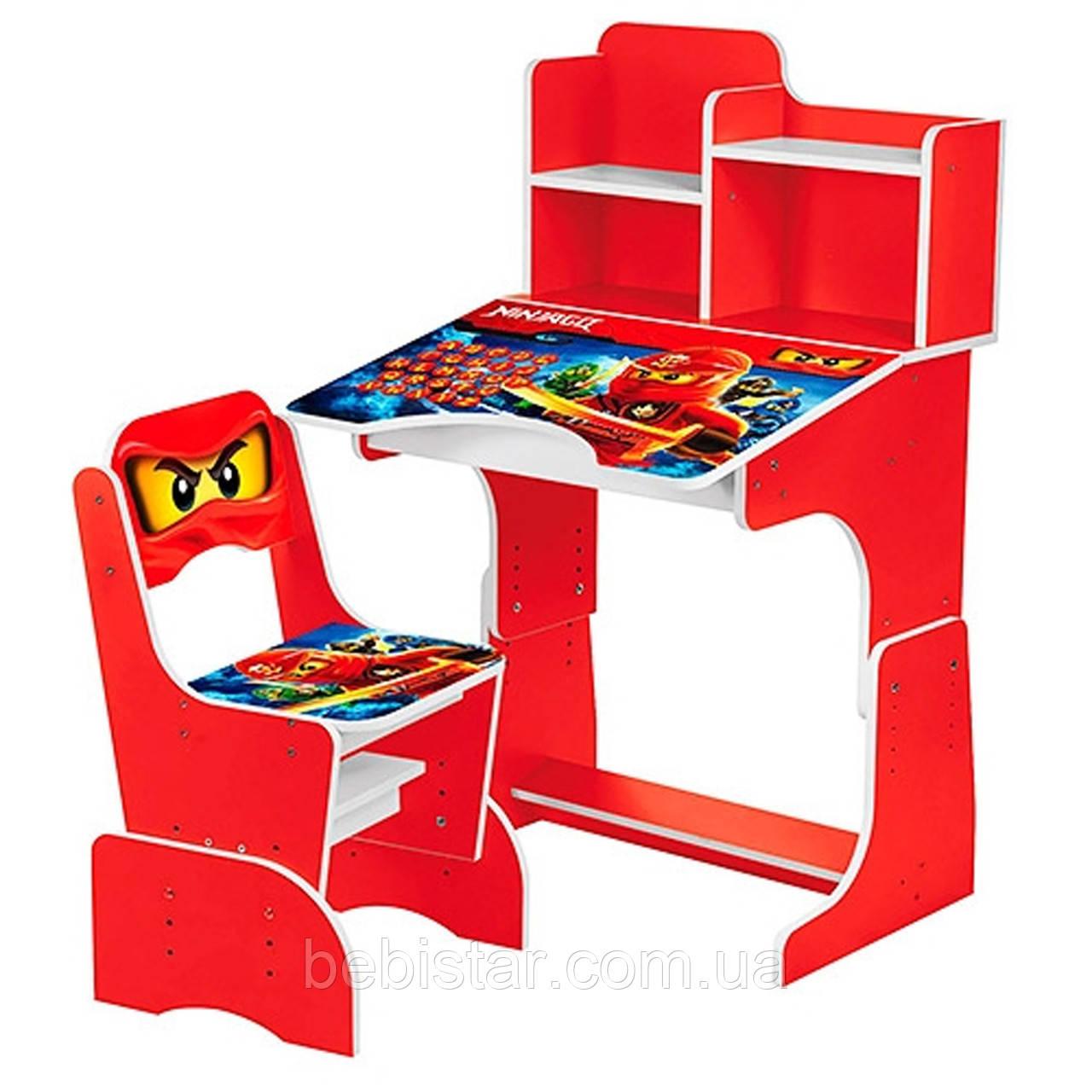 Детская парта со стульчиком (ниндзя красная) для мальчиков