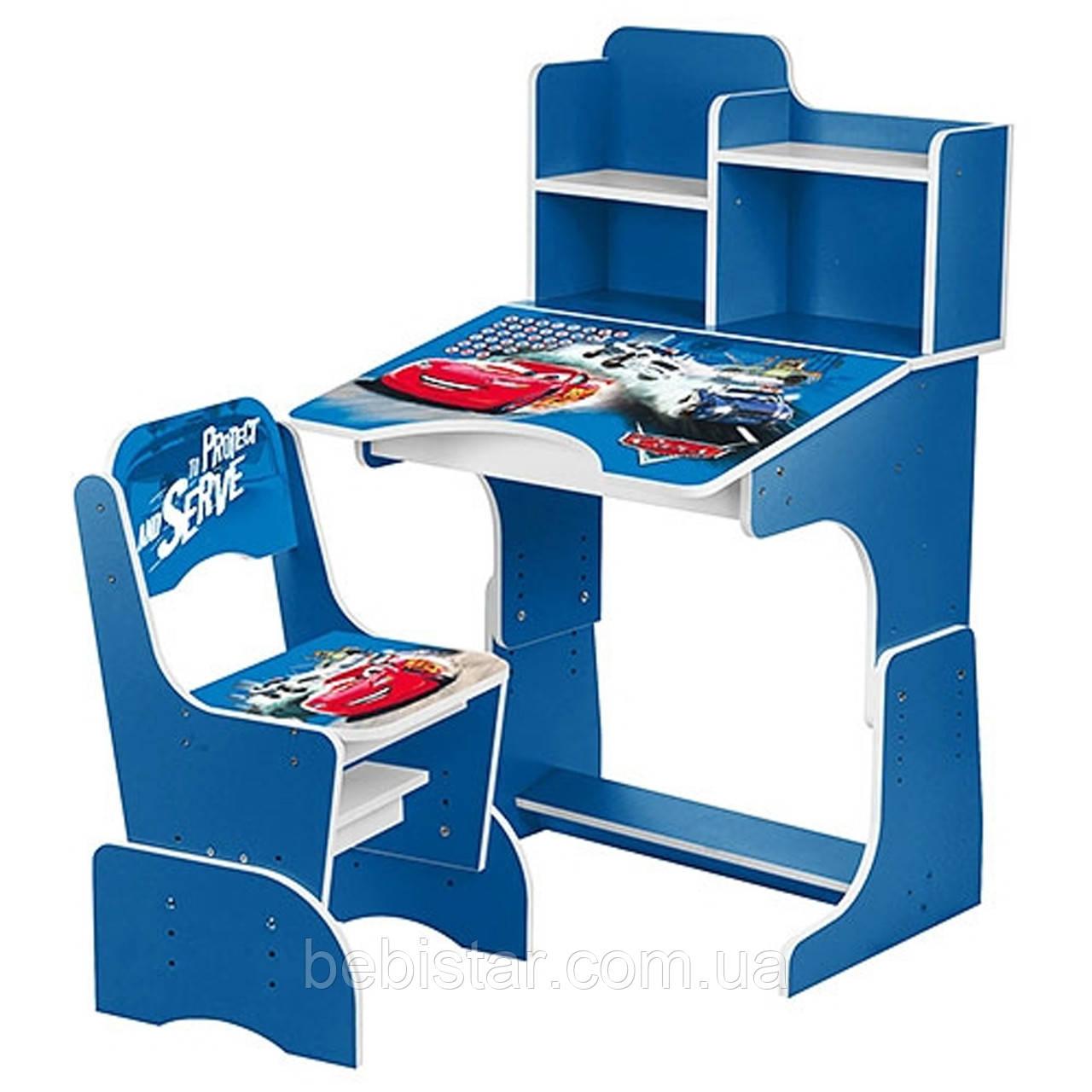 Детская парта со стульчиком (тачки голубая) для мальчиков