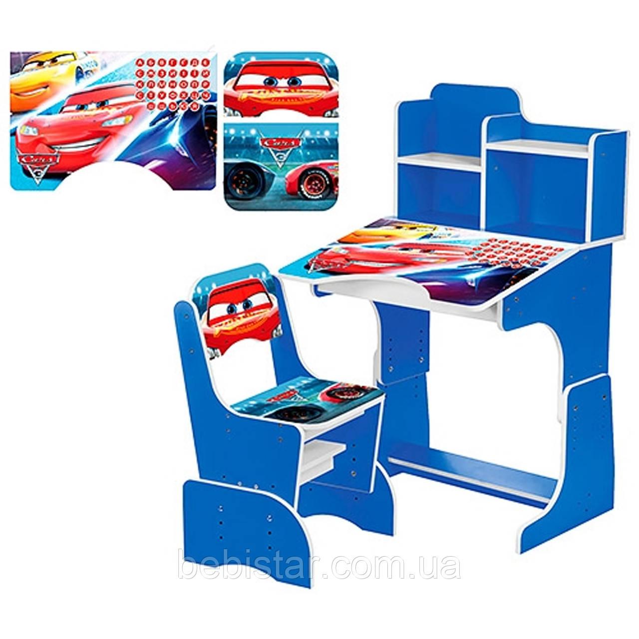 Детская парта со стульчиком (тачки синяя) для мальчиков
