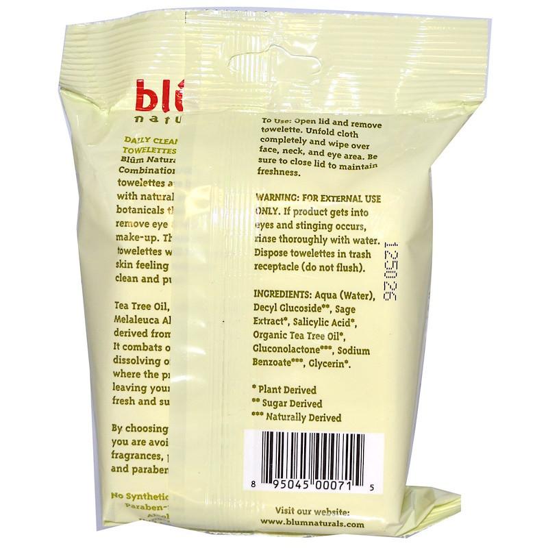Салфетки для снятия макияжа, Blum Naturals, 30 шт
